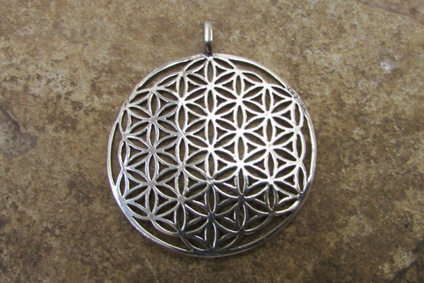 Extra Large Original Flower of Life Pendant Sterling Silver 925