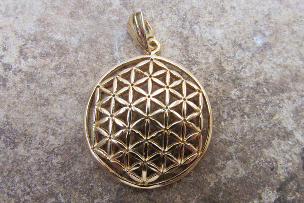 14K Gold Large Flower of Life Pendant by Shantica Jewelry