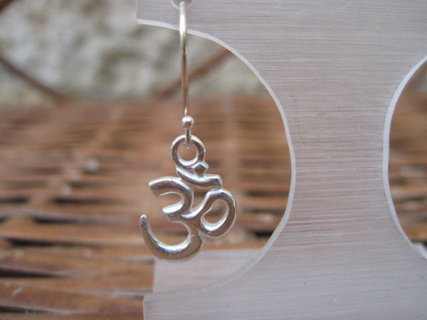 Sterling Silver Om Earrings, Yoga Jewelry