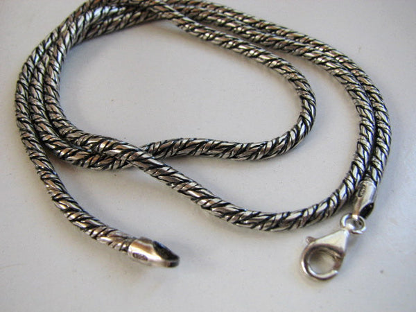 3mm Rope Chain Necklace, Oxidized Silver