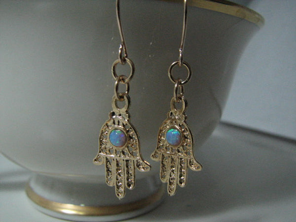 14K Gold Hamsa Hand Earrings