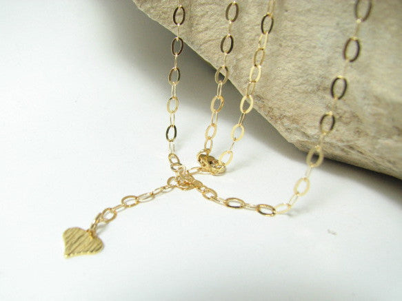 Belly Body Chain with Dangling Heart Charm in Goldfilled