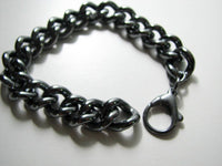 Extreme Black Oxidized Sterling Silver Bold Curb Bracelet