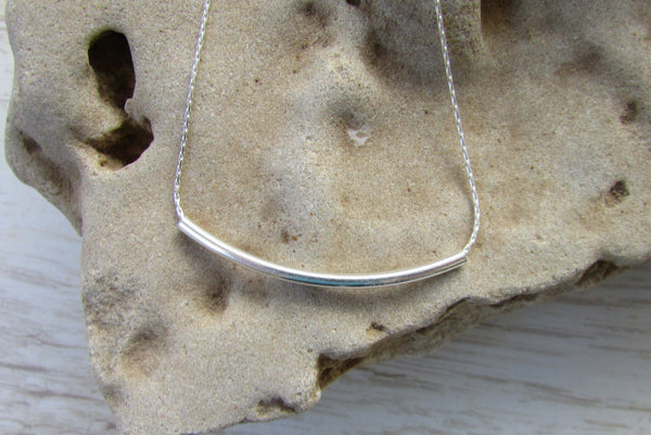 Sterling Silver Curved Bar Necklace Minimalist Everyday Jewelry