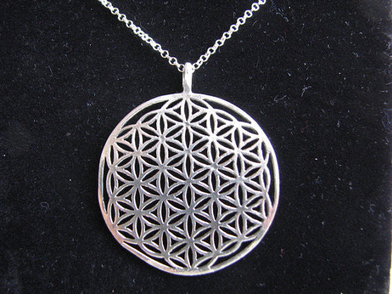 Extra Large Sterling Silver Flower of Life Necklace