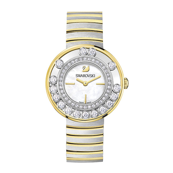 Lovely Crystals Two Tone Stainless Steel Ladies Watch