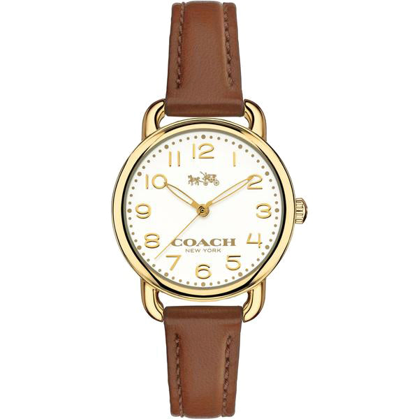 Delancey White Dial Ladies Brown Leather Watch