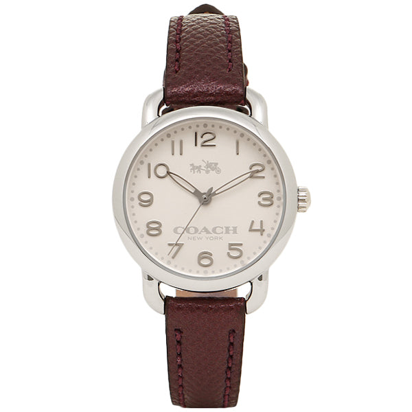 Delancey White Dial Ladies Metallic Purple Leather Watch