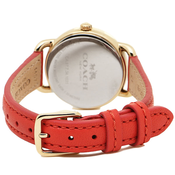 Delancy Red Leather Strap Ladies' Watch