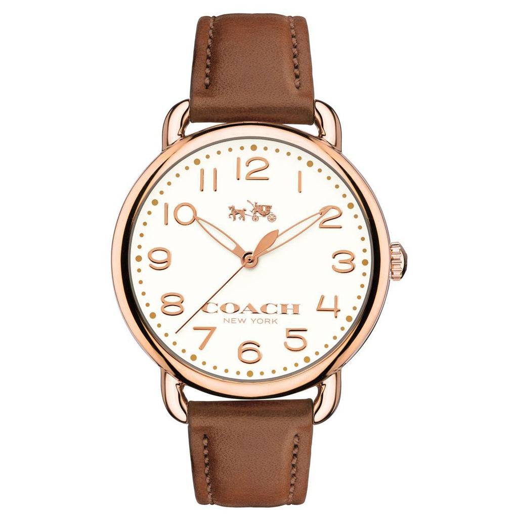 Delancey Brown Leather Strap Chalk Sunray Dial Ladies Watch