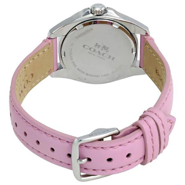 Silver Dial Pink Leather Ladies Watch