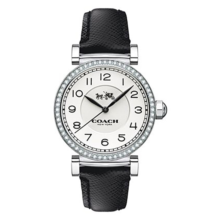 Madison Black Leather White Dial Ladies' Watch