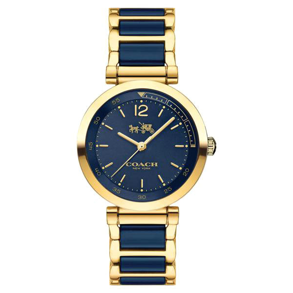 Tristent Two-Tone Gold-Plated Stainless Steel & Blue Ceramic Ladies' Watch
