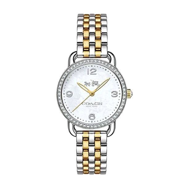 Delancey Silver And Gold Tone Stainless Steel Mother Of Pearl Dial Ladies Watch