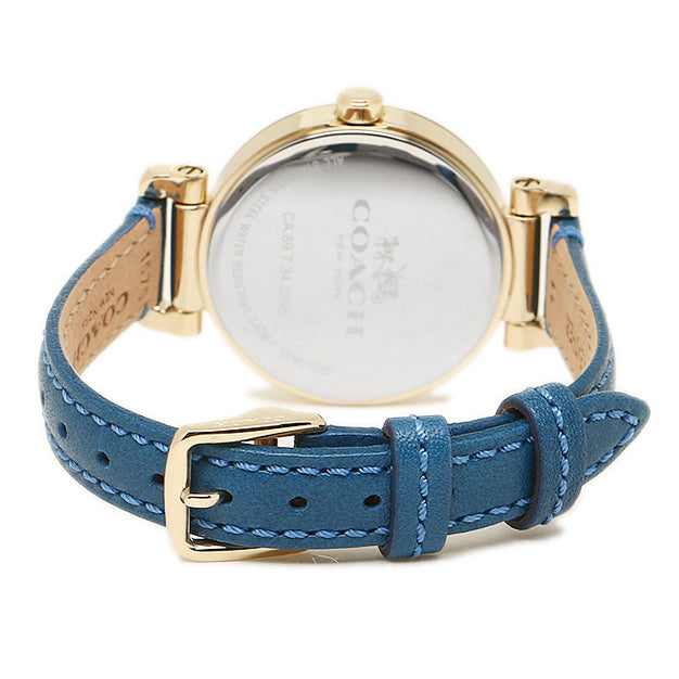 Casual Blue Leather Gold Dial Ladies' Watch