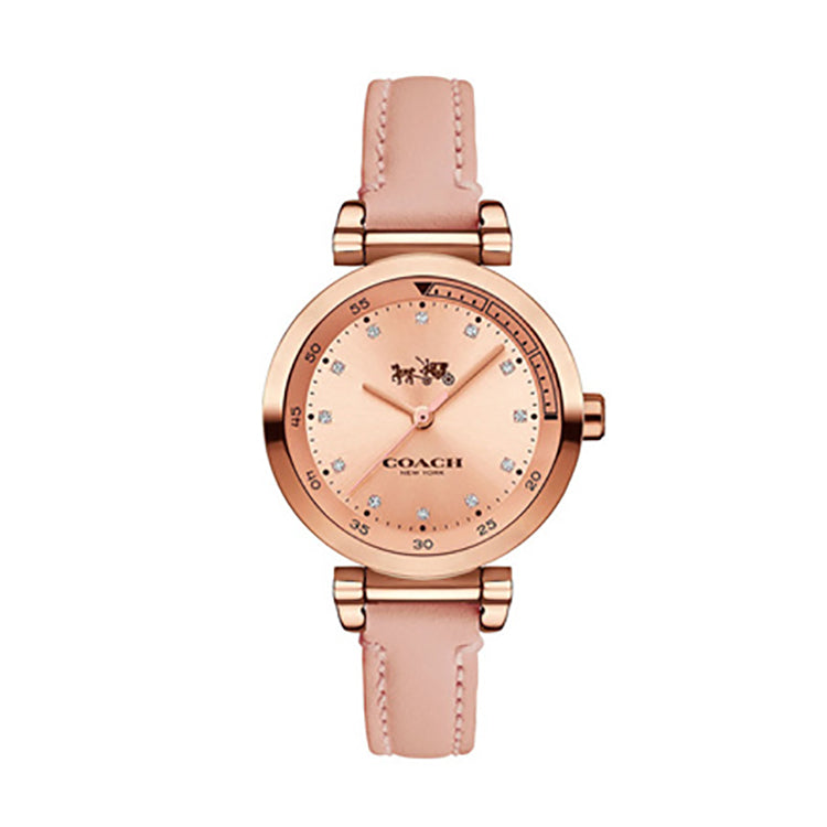 Casual Pink Leather Rose Gold Dial Ladies' Watch