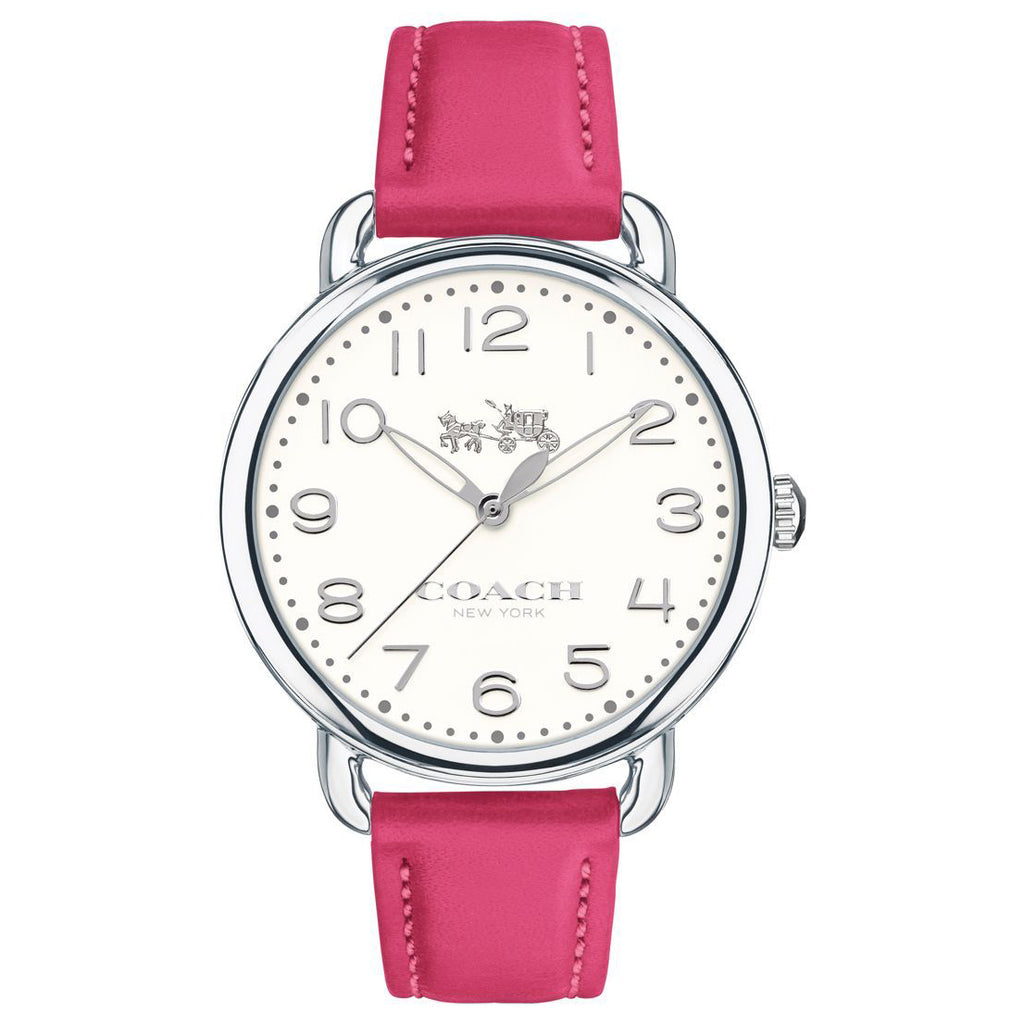 Delancey Pink Leather Strap Chalk Sunray Dial Ladies Watch