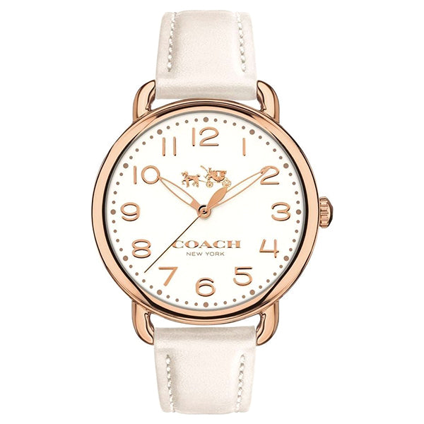Delancey White Leather Strap Chalk Sunray Dial Ladies Watch