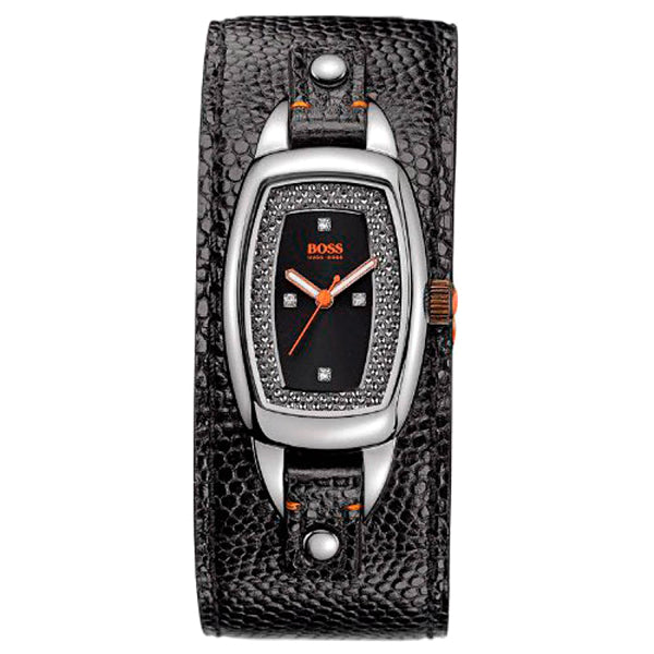 Black Dial Black Leather Cuff Ladies' Watch