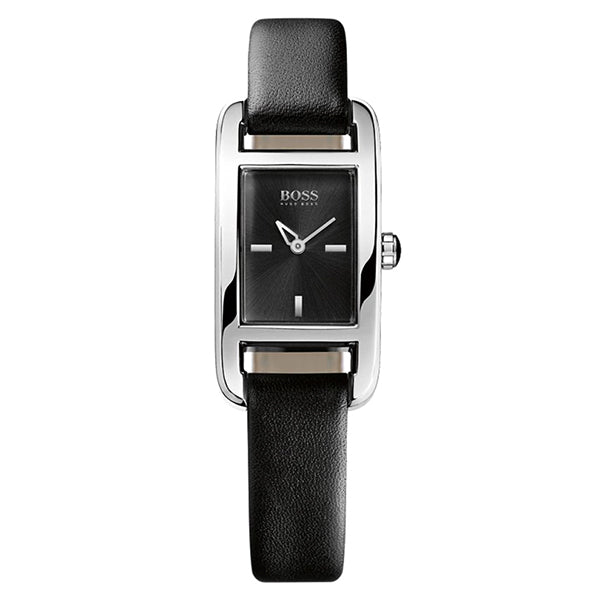 Black Dial Black Leather Quartz Ladies' Watch