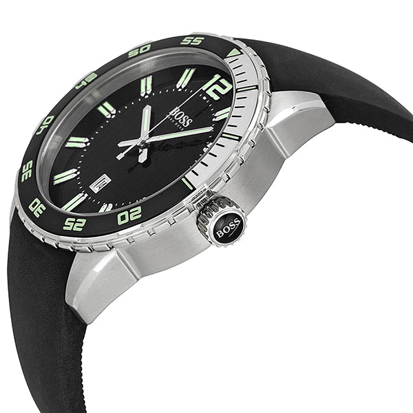 Black Dial Black Rubber Men's Watch