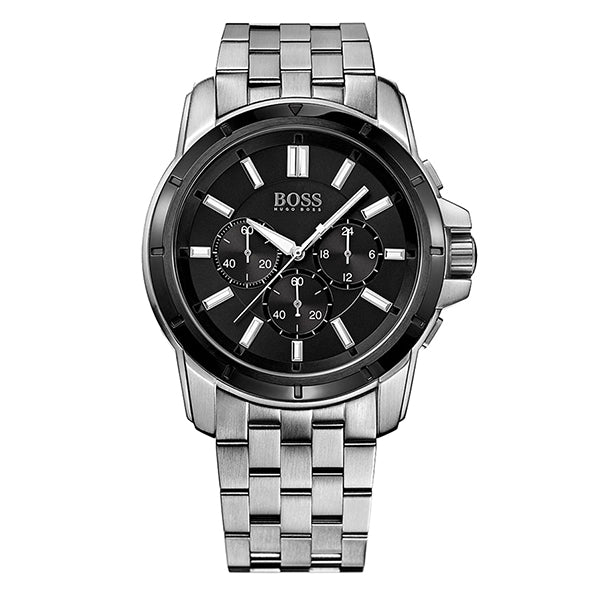 Black Dial With Stainless Steel Bracelet With Three Sub Dials Men's Watch