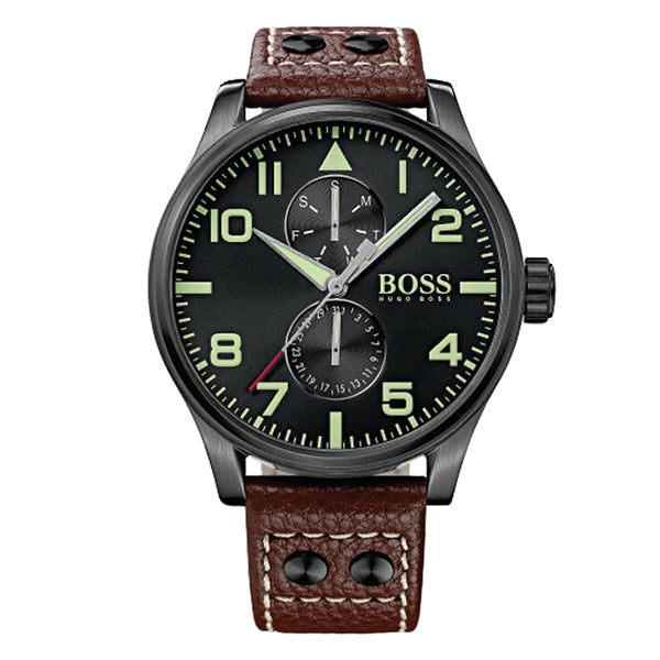 Aeroliner Day Date Leather Strap Men's Watch