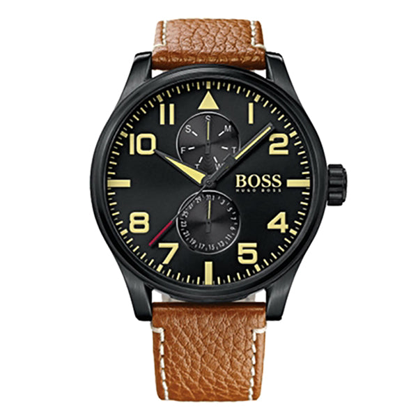 Aeroliner Day Date With Brown Leather Strap Men's Watch