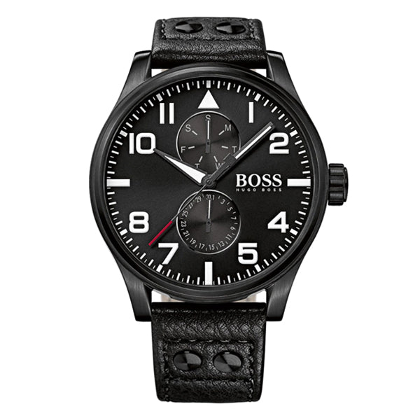 Aeroliner Day Date With Black Leather Strap Men's Watch