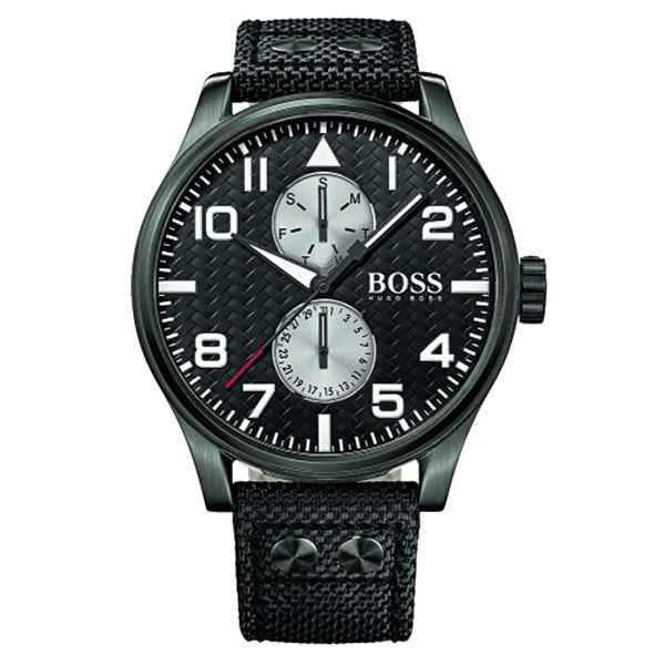Aeroliner Day Date Black Leather Strap Men's Watch