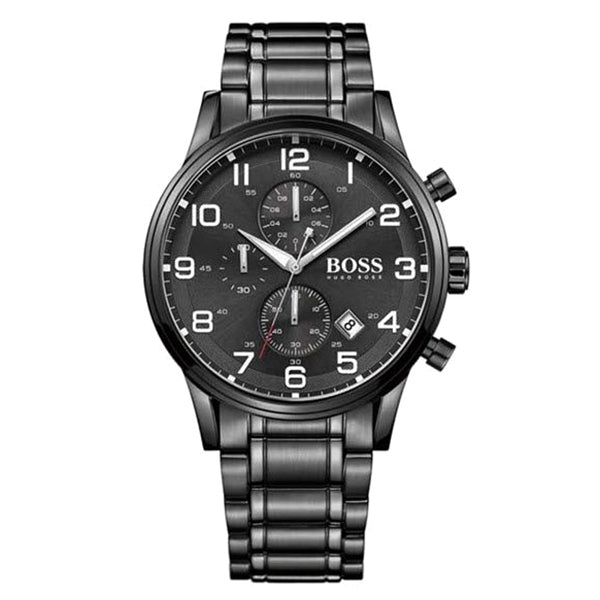 Aeroliner Chronograph Black Dial Black Ion-Plated Stainless Steel Bracelet Men's Watch