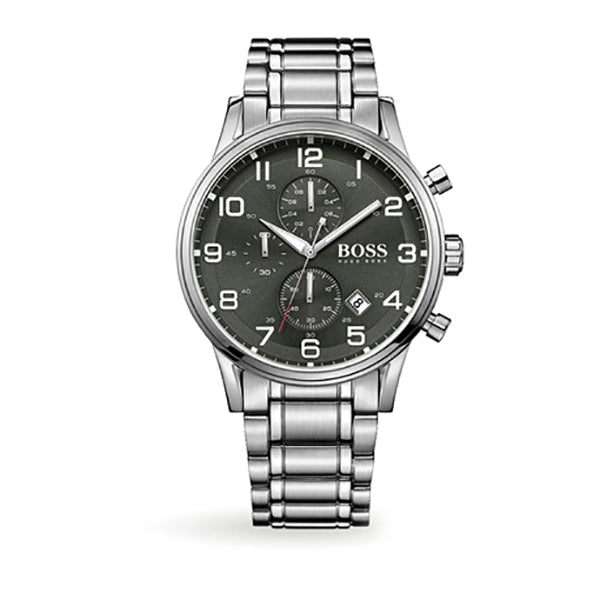 Aeroliner Chronograph Black Dial Stainless Steel Bracelet Men's Watch
