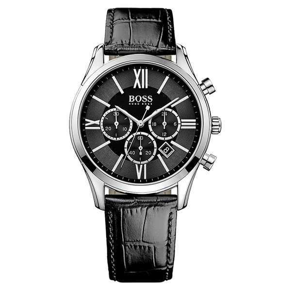 Ambassador Exclusive Black Dial With Black Leather Strap Men's Watch