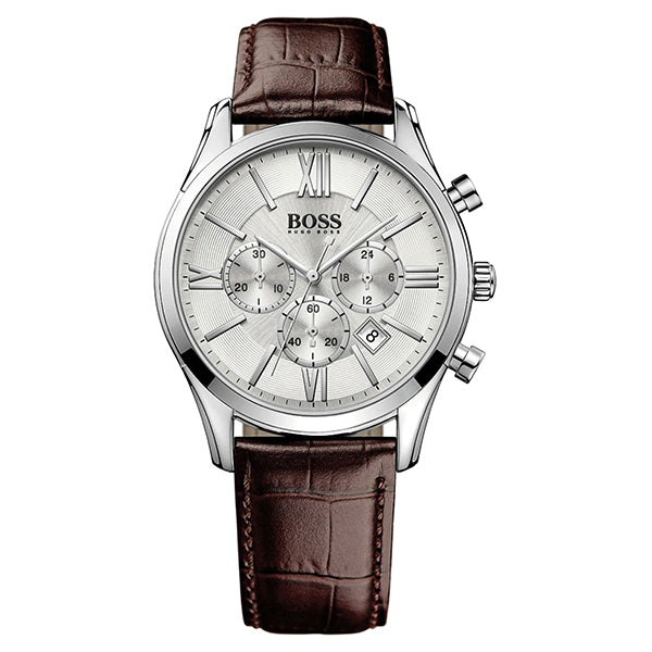 Ambassador Exclusive Silver Dial With Brown Leather Strap Men's Watch