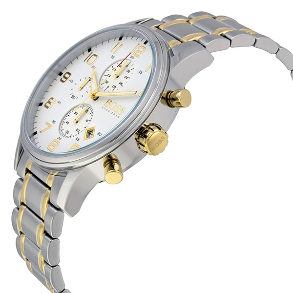 Aeroliner Chronograph White Dial Two-tone Men's Watch