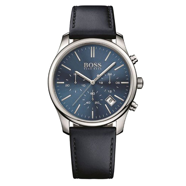 Time One Chronograph Blue Dial Black Leather Strap Men's Watch