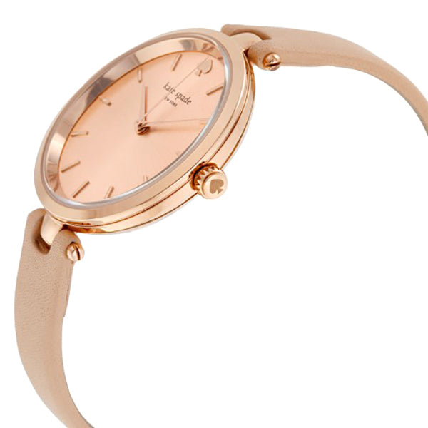 Holland Rose Dial Beige Leather Ladies Watch