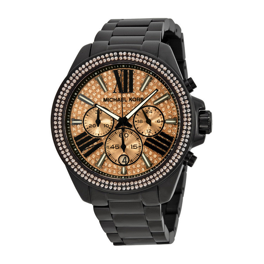 Everest Chronograph Rose Dial Black Ion-plated Ladies Watch