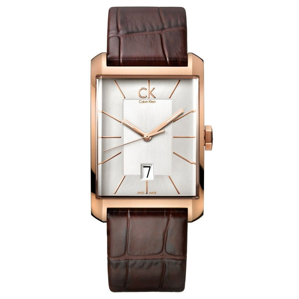 Window Rose Gold Tone Leather Men's Watch