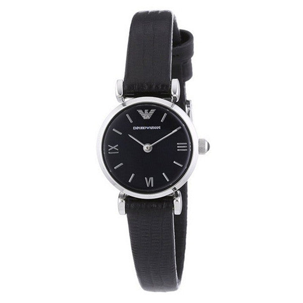 Retro Black Mother of Pearl Dial Black Leather Ladies' Watch