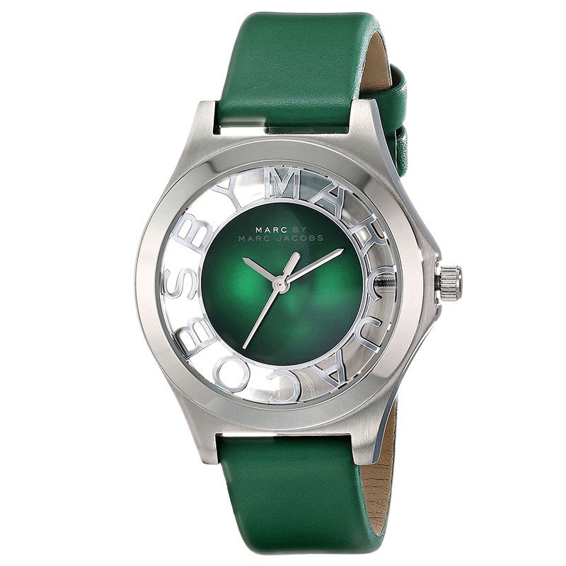 Henry Green Dial Green Leather Ladies Watch