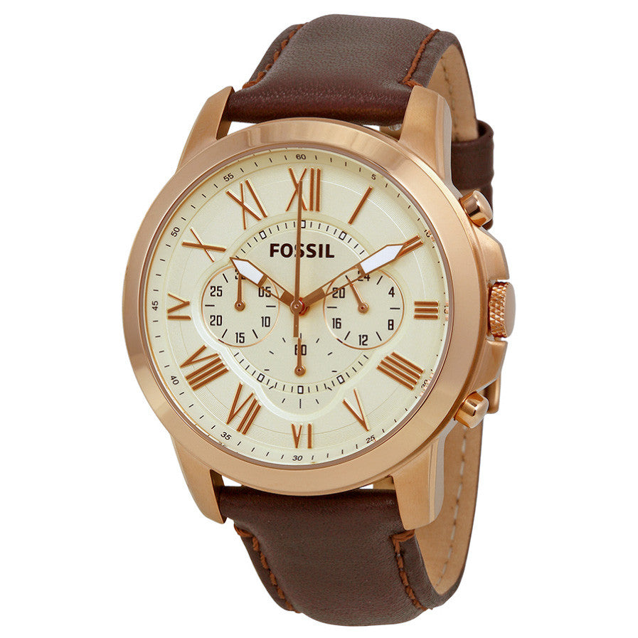 Grant Chronograph Eggshell Dial Brown Leather Men's Watch