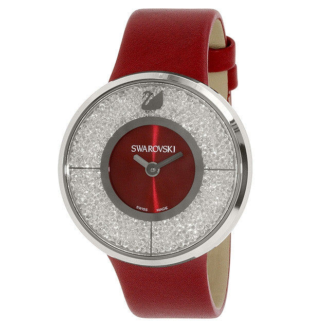 Crystalline Red Dial Calfskin Leather Strap Quartz Ladies Watch