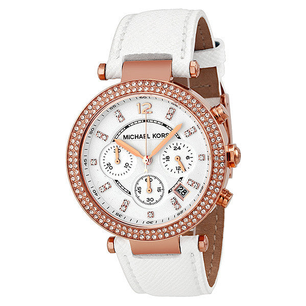 aa07bfd6118d Michael Kors MK2281 Parker Chronograph Rose Gold-tone White Leather ...