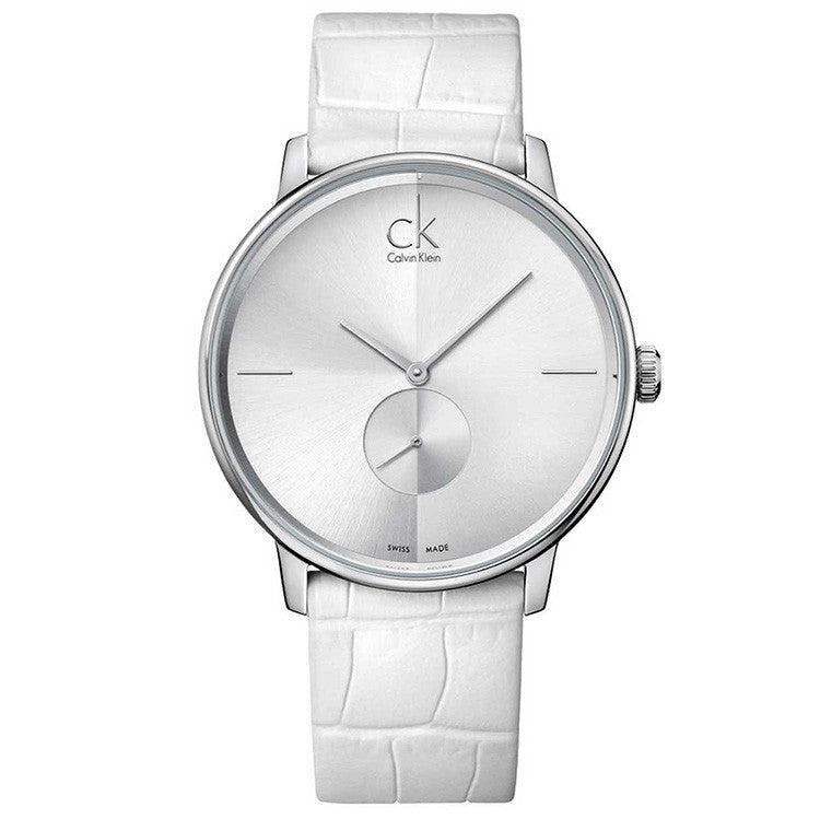 Accent White Leather Unisex Watch
