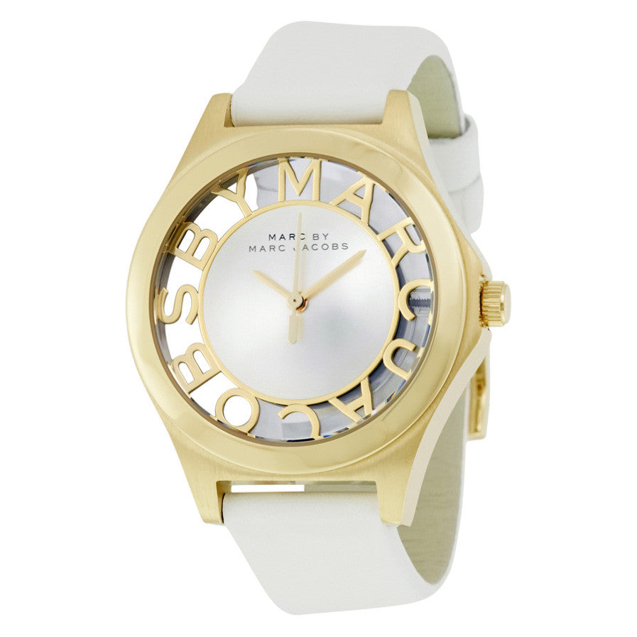 Henry White Dial White Leather Ladies Watch