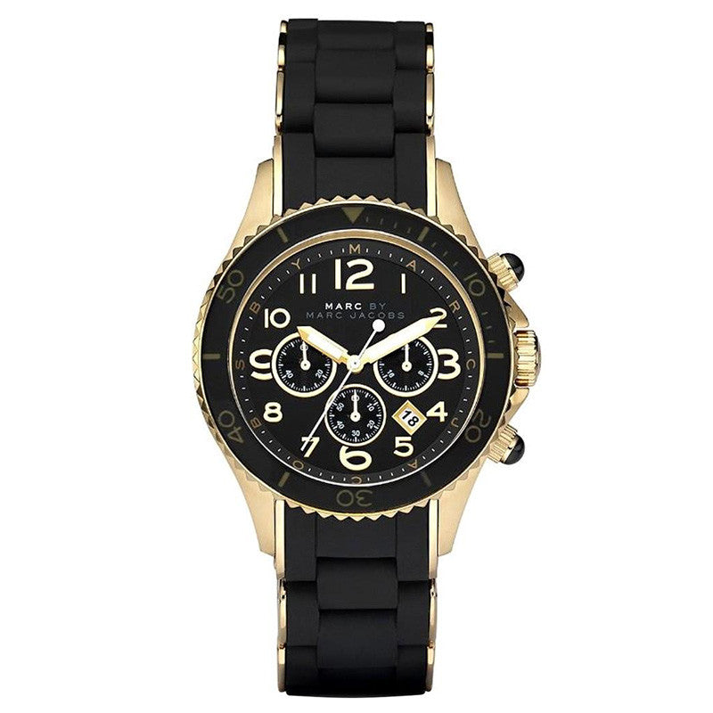 Pelly Chronograph Black Dial Gold-tone Steel Ladies Watch