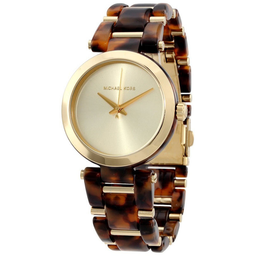 Delray Gold Dial Tortoise Acetate Ladies Watch