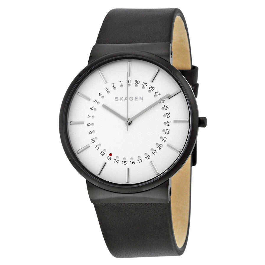 Ancher White Dial Leather Men's Watch