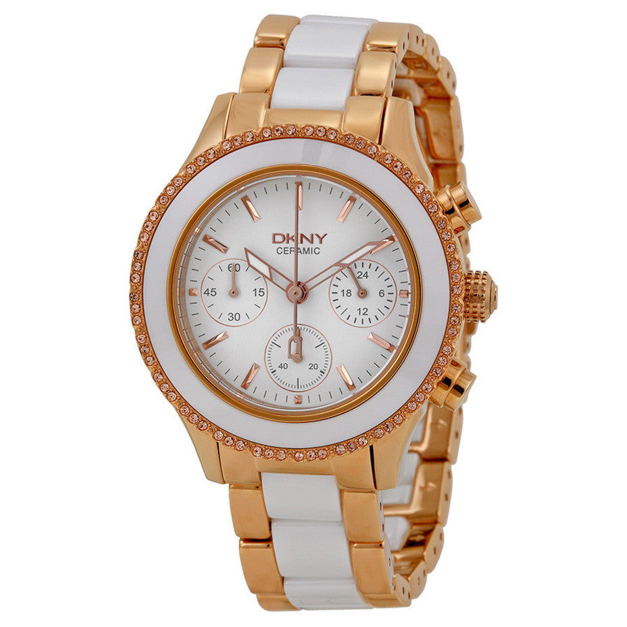 Brooklyn White Dial Chronograph Steel and Ceramic Ladies Watch